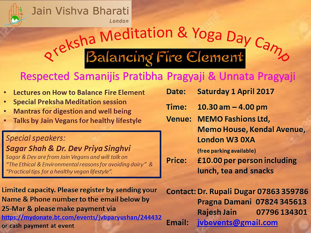 2017.04.01 JVB London.Preksha Meditation & Yoga Day Camp