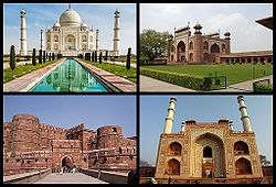 Various tourist destinations including the Taj Mahal in Agra