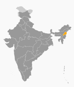 Location of Nagaland in India